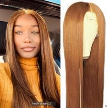 Gember Blonde Lace Front Menselijk Haar Pruiken Straight Midden Deel Lace Pruiken Braziliaanse Gekleurde Oranje Blonde Lace Front Pruik 180% remy