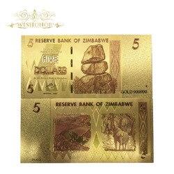 10 шт./лот красивые банкноты в Зимбабве 5 долларов банкнот в 24k позолоченные копии ложных денег для коллекции