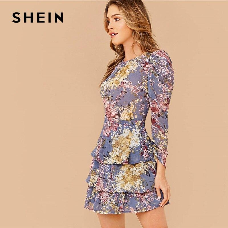 SHEIN Allover Botanical Print Gigot Sleeve Layered Hem Chiffon Dress Women Spring O-neck High Waist Short A Line Boho Dresses 2