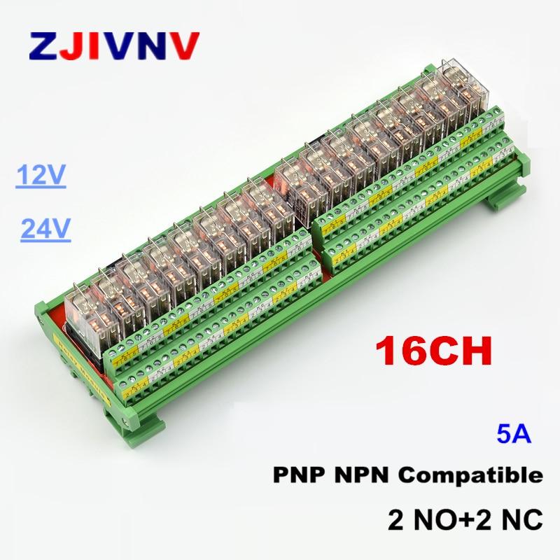 16 canais dpdt interface modulo de rele 5a 12 24vdc din trilho montagem do painel pnp