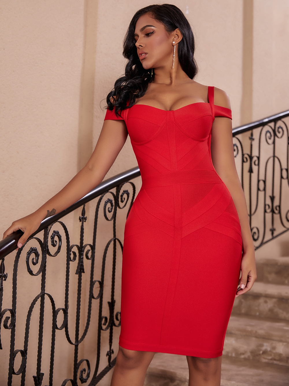 Women Red Off Shoulder Sexy Bodycon Celebrity Evening Party Dress