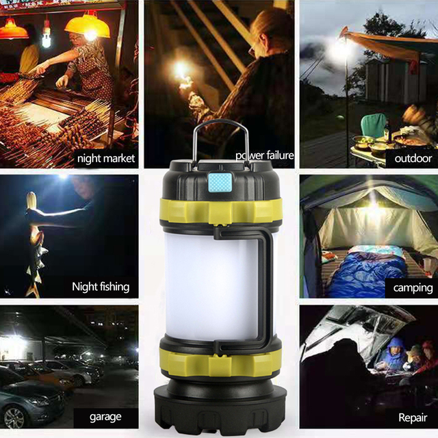 Camp Lamp LED Camping Light USB Rechargeable Flashlight Dimmable Spotlight Work Light Waterproof Searchlight Emergency Torch 6