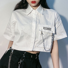 GOTH GIRL Harajuku Street Shirt Women Letters Embroidery Loose White Blouse New Fashion Punk Grunge Style Short Sleeve Top Shirt