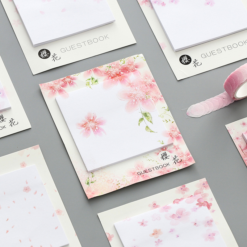 Mohamm 30PCS American Cherry Blossom  Kawaii Cute Sticky Notes Memo Pad In Japanese Style Diary Stationery Flakes Scrapbook Deco