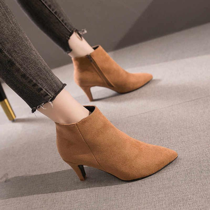 Vrouwen Zip Puntschoen Enkellaars Dames Flock Fashion Luipaard Korte Laarzen Vrouwelijke Korte Pluche Spike Hoge Hakken Casual Schoenen