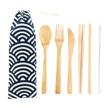 Bamboo Cutlery Set Travel Utensils Biodegradable Wooden Dinnerware Outdoor Portable Flatware Zero Waste Bamboo Tableware Set