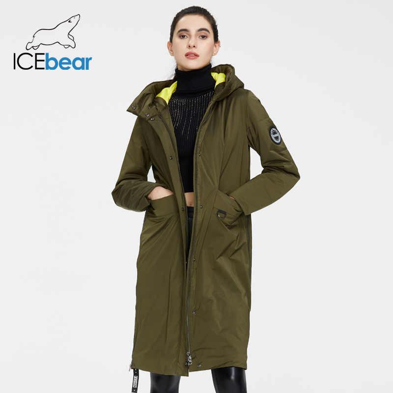 Icebear jaqueta feminina para primavera, casaco longo e de qualidade, roupas de marca, 2020