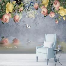 Papel pintado 3D personalizado Vintage pintura al óleo flores pastorales murales de fotos sala de estar TV sofá dormitorio hogar Decoración de pared pegatinas