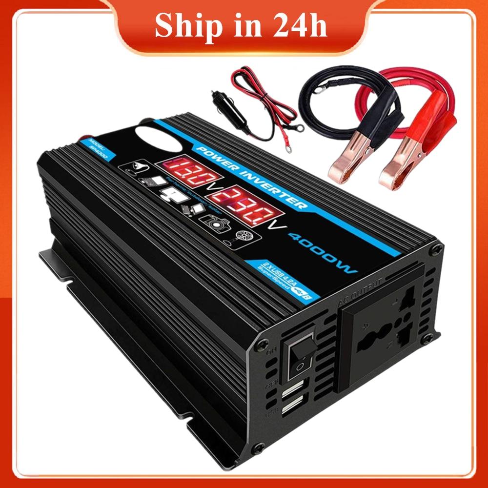 Новинка, 4000 Вт, 12 В, 220 В/110 В, светодиодный автомобильный инвертор переменного тока, преобразователь, зарядное устройство, адаптер, двойной USB ...