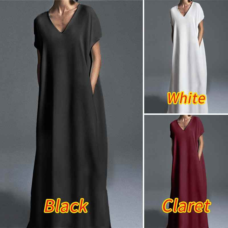 Zanzea Vrouwen Losse Lange Pockets Jurk Vintage Kaftan Korte Mouw Zonnejurk Vrouwen V-hals Solid Floor Lengte Plus Size Vestidos