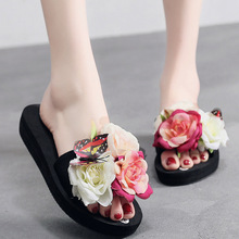 Slippers Female Summer Wear Fashion Beach Shoes Seaside Thick Bottom Flowers Sandals Slippery Wild Korean Wave