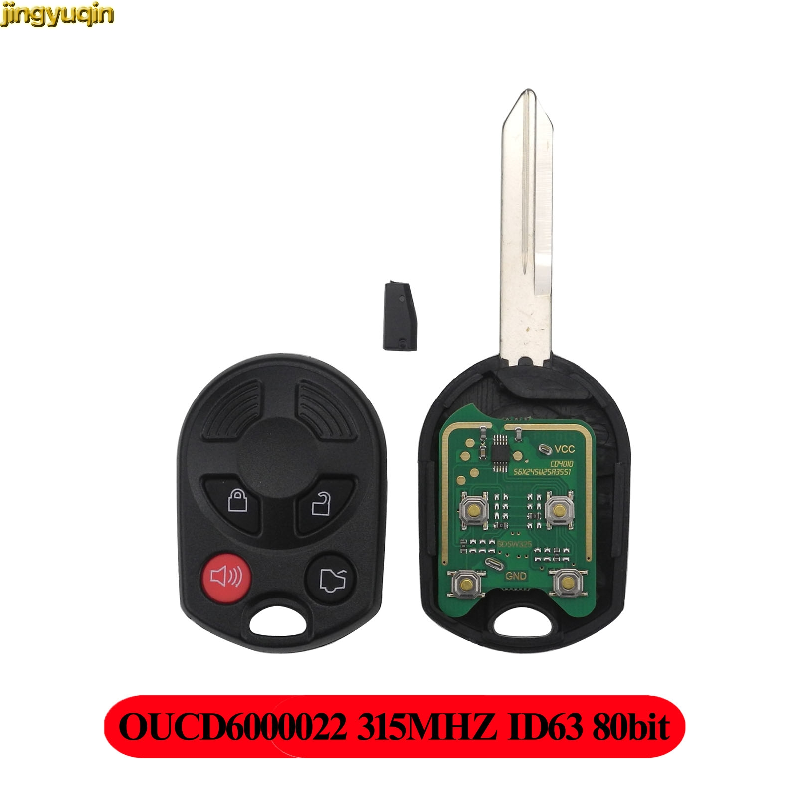 Jingyuqin Remote Car Complete Key 315MHZ CY22 for Ford Escape Keyless Entry Combo OUCD6000022 ID63 Transponder Chip 80bit 4BTN|Car Key| |  - title=