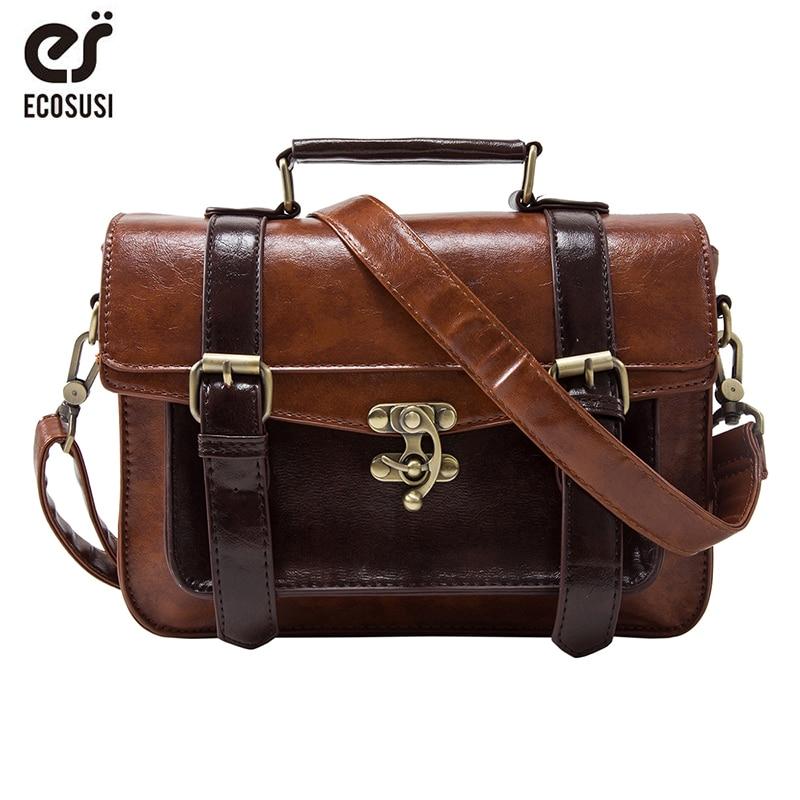 ECOSUSI New 11' Bag For Women PU Leather Handbags Briefcase Classic Mori Girl Leisure Portable Women Messenger Bags Preppy Style
