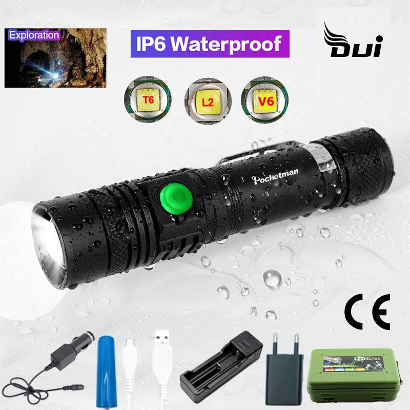 DUI USB Battery Rechargeable Led Flashlight Waterproof Camping Powerful Portable Light Long Hunting Flash Light Zoom Torch Lamp