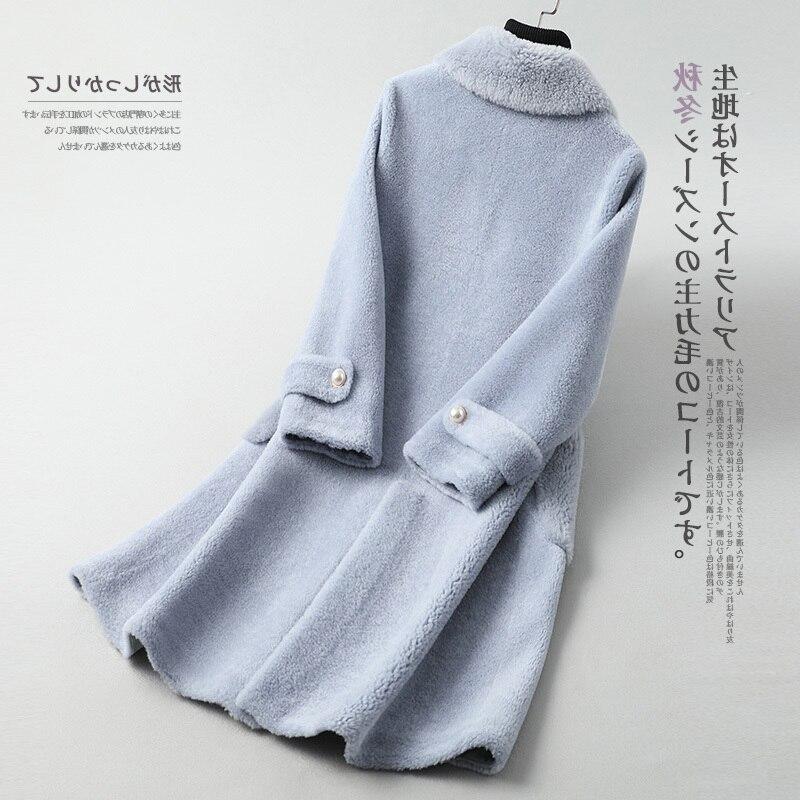 2020 New Real Fur Coat Women Autumn Winter Sheep Shearing Wool Jacket Korean Long Womens Jackets And Coats Y077 KJ3042