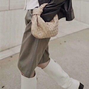 Projektant marki skóra splot kobiet torebki Top Street Fashion Knit Knot ręcznie nosić mała torebka torebka miękkie torby
