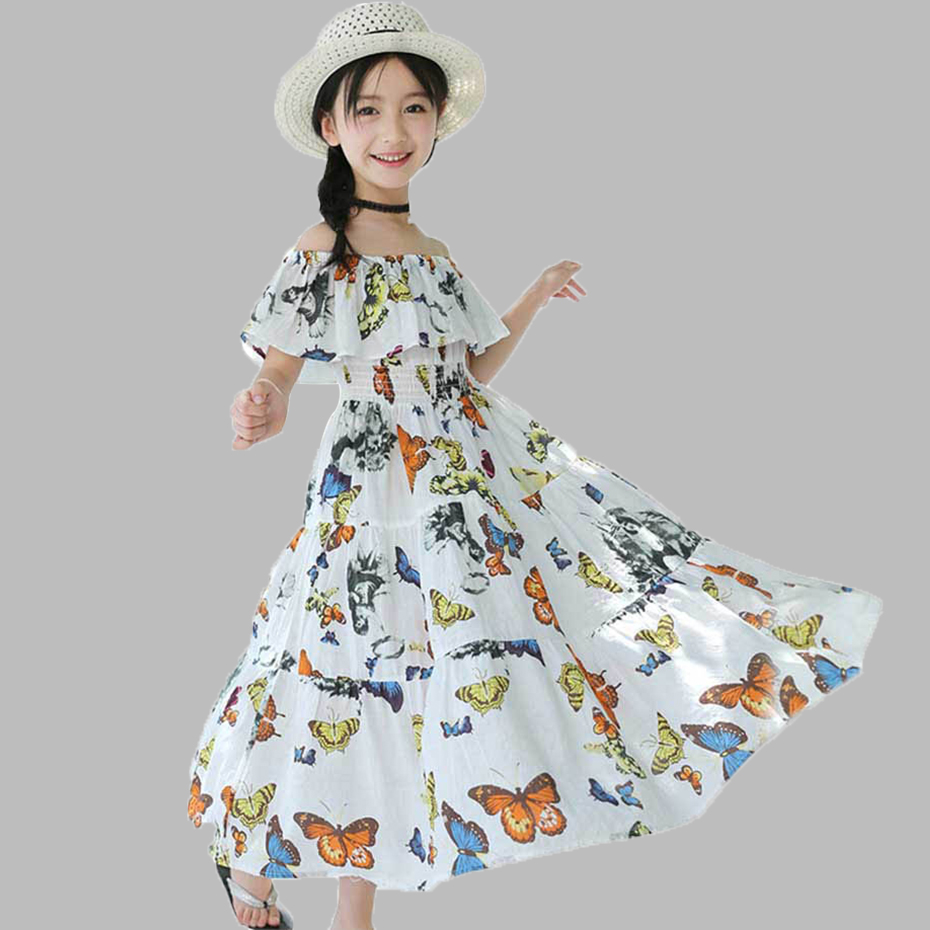 Bohemian Dress For Girls Butterfly Print Girls Dresses Patchwork Kids Party Dresses For Girls Summer Teenage Clothes For Girls(China)