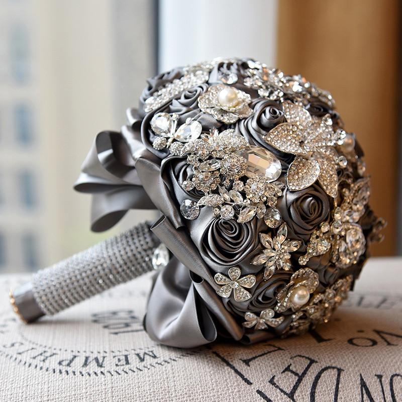 20 см для свадьбы искусственные цветы, шелковые стразы, украшение для дома, букет цветов, растения, Западный Роскошный подарок
