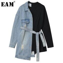 [EAM] Свободная Облегающая джинсовая бандажная толстовка с разрезом, новинка, круглый вырез, длинный рукав, Женская мода большого размера, Осе...