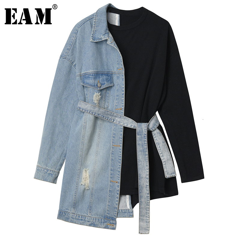 [EAM] Loose Fit Denim Split Bandage Sweatshirt New Round Neck Long Sleeve Women Big Size Fashion Tide Spring Autumn 2020 1H839