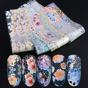 Image 1 - 16pcs Nail Foil Set with Transfer Glue White Lace Holographic Flowers Sticker Nail Art UV Gel Full Wraps Decor Manicure LA931 1