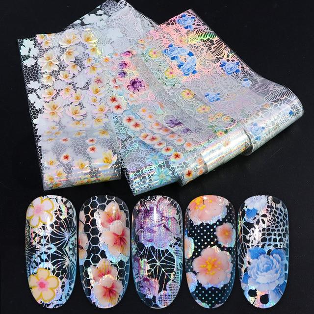 16pcs Nail Foil Set with Transfer Glue White Lace Holographic Flowers Sticker Nail Art UV Gel Full Wraps Decor Manicure LA931 1