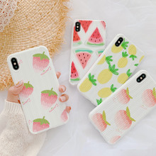 Summer sweet fruit strawberry peach cute Phone case for coque iPhone 7 8 6s Plus XS max cover silicone X XR