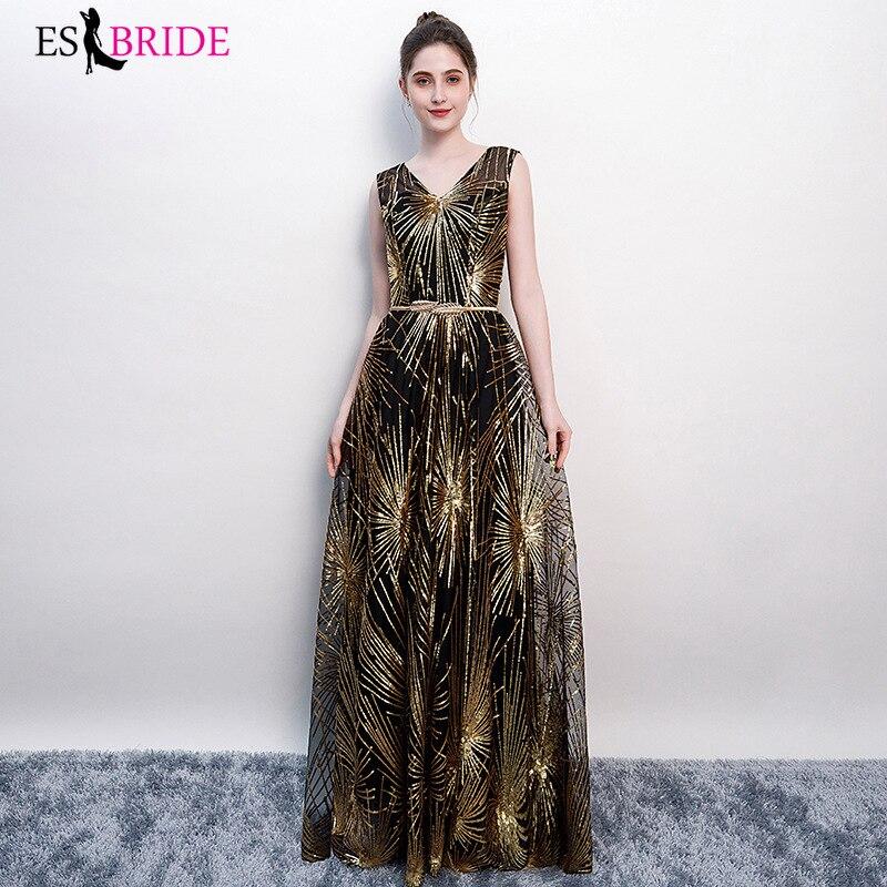 New Sexy V-neck Sleeveless Sequin A-line Long Evening Dresses Elegant Abendkleider 2019 ES30458