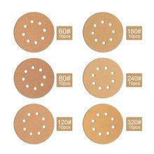 60 sztuk 8 otworów tarcze szlifierskie 5 Cal bezpyłowa hak i pętli szlifierka papieru-10 każdy z 60 80 120 180 240 320 kasza tanie tanio CN (pochodzenie) Woodworking NONE Other Grit Sanding Discs