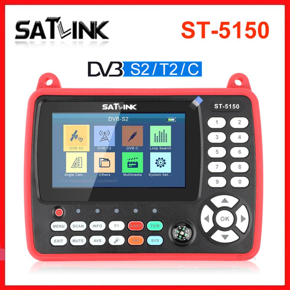Original SATLINK ST-5150 DVB-S2 T2 C COMBO HD Satellite Finder Meter H 265 HEVC MPEG-4 Supports QPSK 8PSK 16APSK 4 3 Inch TFT LC