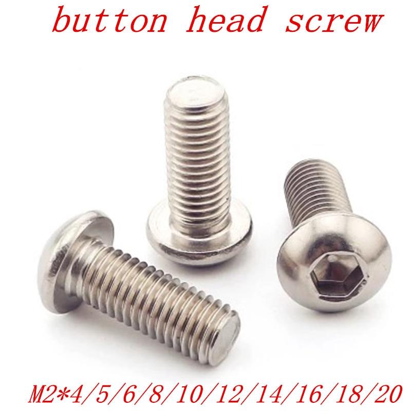 New M2.5 ISO7380 A2 SS Hexagon Socket Button Head Screws 5//10//20//30//50//100pcs