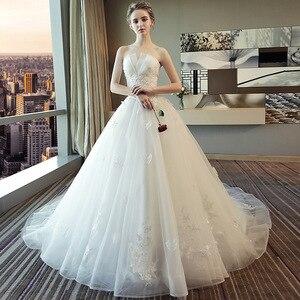 Женское свадебное платье со шлейфом, белое кружевное платье без бретелек с вышивкой, без бретелек, со шлейфом, размера плюс, 2019