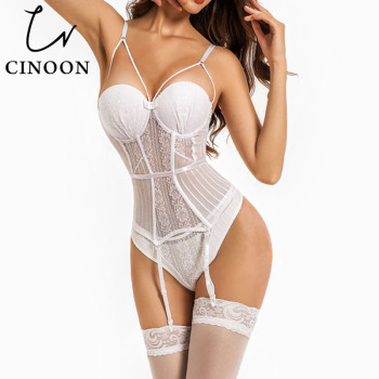 CINOON Sexy Corset Women Gothic Underwear Erotic Transparent Lace Mesh Corset Top Lingerie Slim Waist Bustier Push Up Corselet sexy lace corsets and bustiers women high quality lace up firm female corset push up lingerie bustier sheer mesh overbust corset