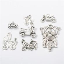 10 unids/bolsa Vintage Metal Retro plata motocicleta charm carrito de bebé DIY accesorios de moda colgante colgantes para joyería hacer