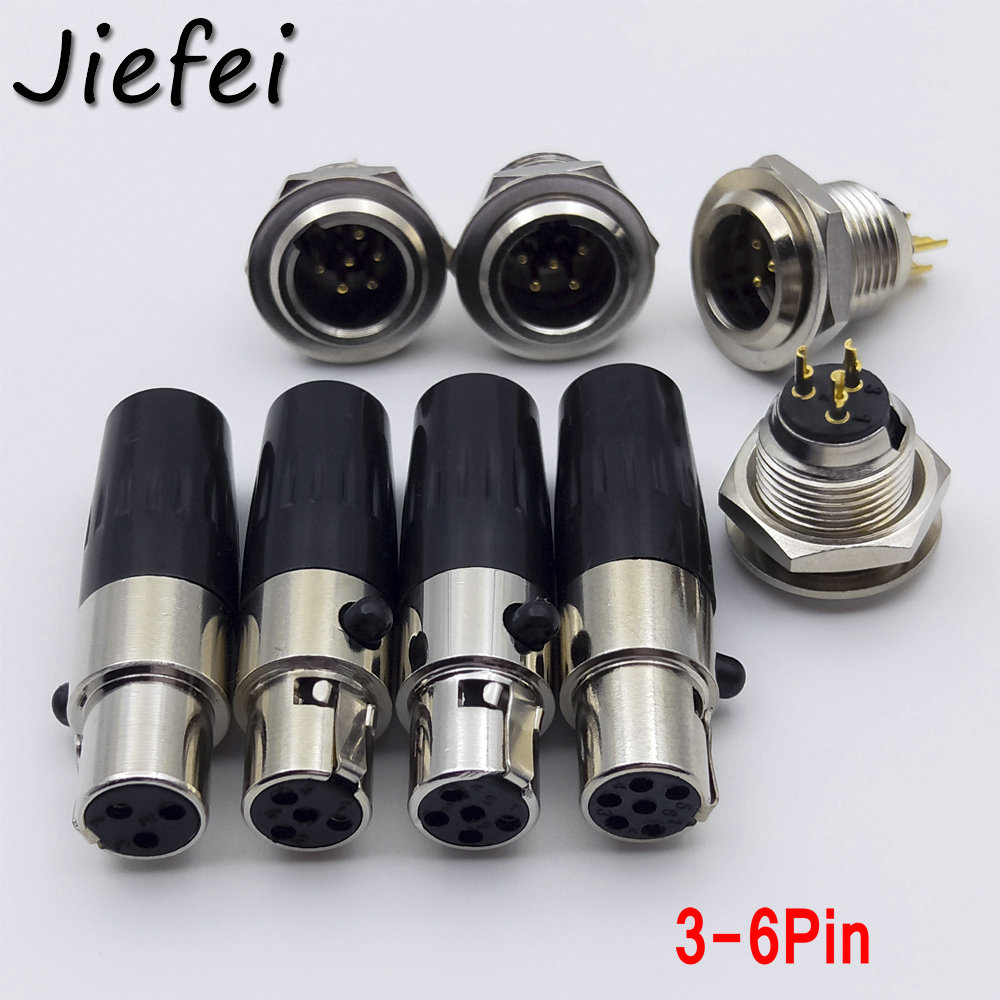 6pcs Mini XLR <font><b>3</b></font> <font><b>4</b></font> <font><b>5</b></font> 6 <font><b>Pin</b></font> Female Inline Plug <font><b>3</b></font> <font><b>4</b></font> <font><b>5</b></font> 6 <font><b>Pin</b></font> Male Socket <font><b>Jack</b></font> Adapter for MIC Microphone Audio Cable Connector image