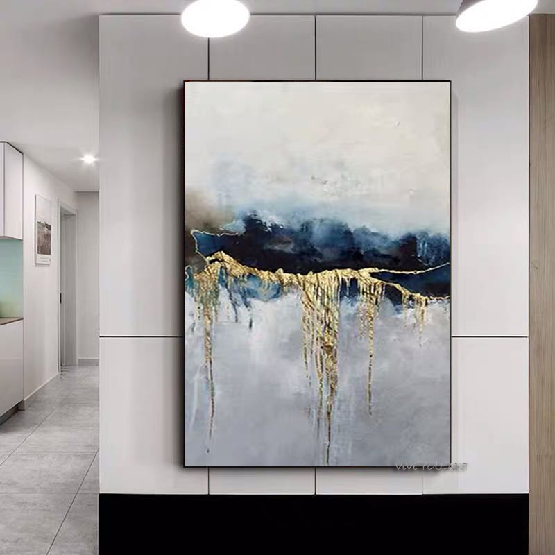 2020 fashion art Handmade abstract oil painting Gold Gray White gorgeous abstract Painting home Decor wall Painting on Canvas|Painting & Calligraphy|   - AliExpress