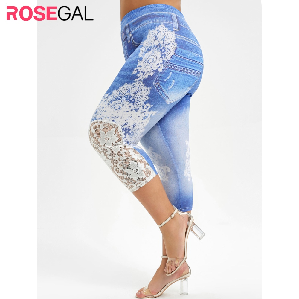 ROSEGAL New Large Size Leggings Push Up 3D Lace Print Capri Elastic High Waist Women Summer Skinny Fitness Legging Pant Trouser