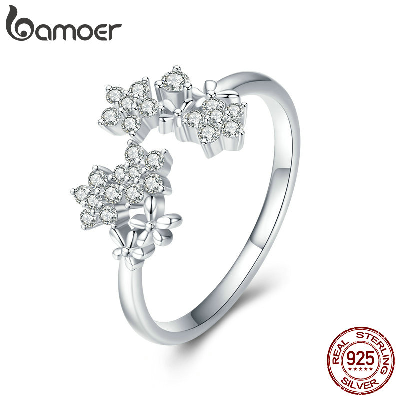 BAMOER Shining Authentic 925 Sterling Silver Daisy Clear CZ Adjustable Finger Rings For Women Wedding Engagement Jewelry BSR021