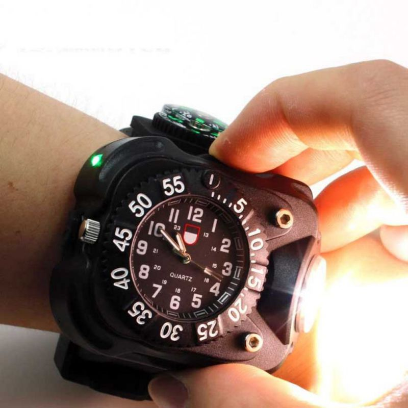 3 in 1 bright watch light flashlight with compass outdoor sports mens fashion Waterproof LED rechargeable wrist watch lamp torch|Outdoor Tools| |  - title=