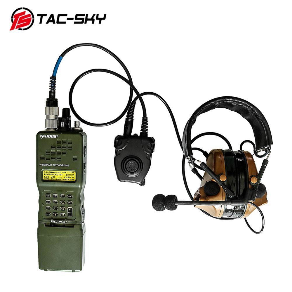 Купить с кэшбэком TAC-SKY U94 6-pin PELTOR PTT for Harris AN / PRC152 PRC148 walkie-talkie model 6-pin military headset plug PTT PELTOR