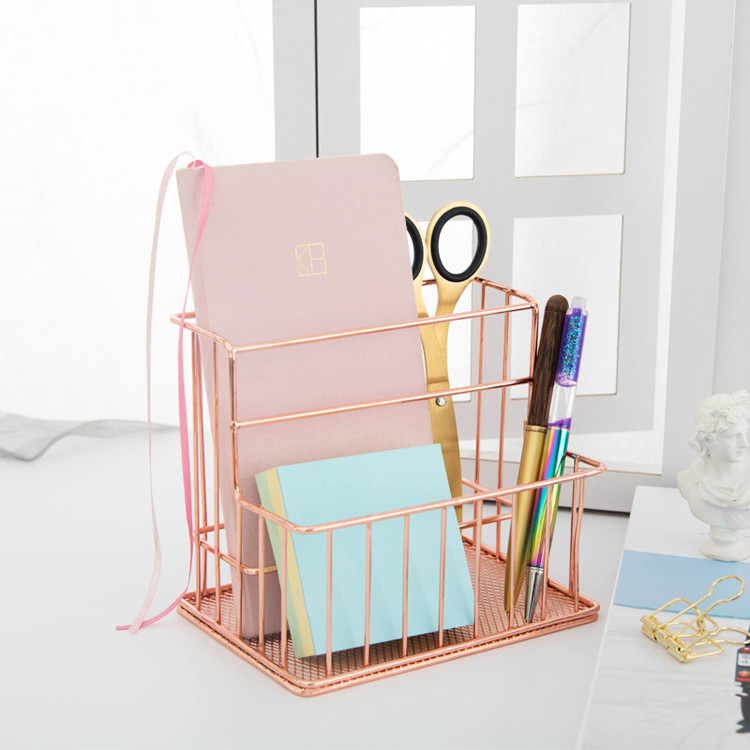 Iron Art Storage Basket Rose Gold Office Artifact Desk Organizer Office Accessories Pen Holder Desk Accessories Office Organizer