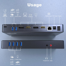 QGeeM Docking Station 15-IN-1 USB Hub 3.0 for Macbook Pro Xiaomi Laptops One 5K/ Dual 4K@60Hz Video Display USB Type C Hub HDMI