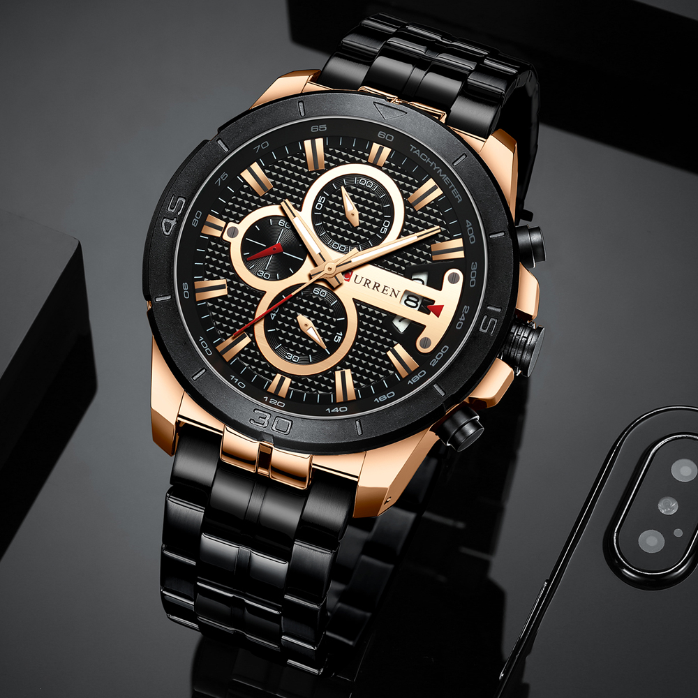 CURREN Business Men Watch Luxury Brand Stainless Steel Wrist Watch Chronograph Army Military Quartz Watches Relogio CURREN Business Men Watch Luxury Brand Stainless Steel Wrist Watch Chronograph Army Military Quartz Watches Relogio Masculino