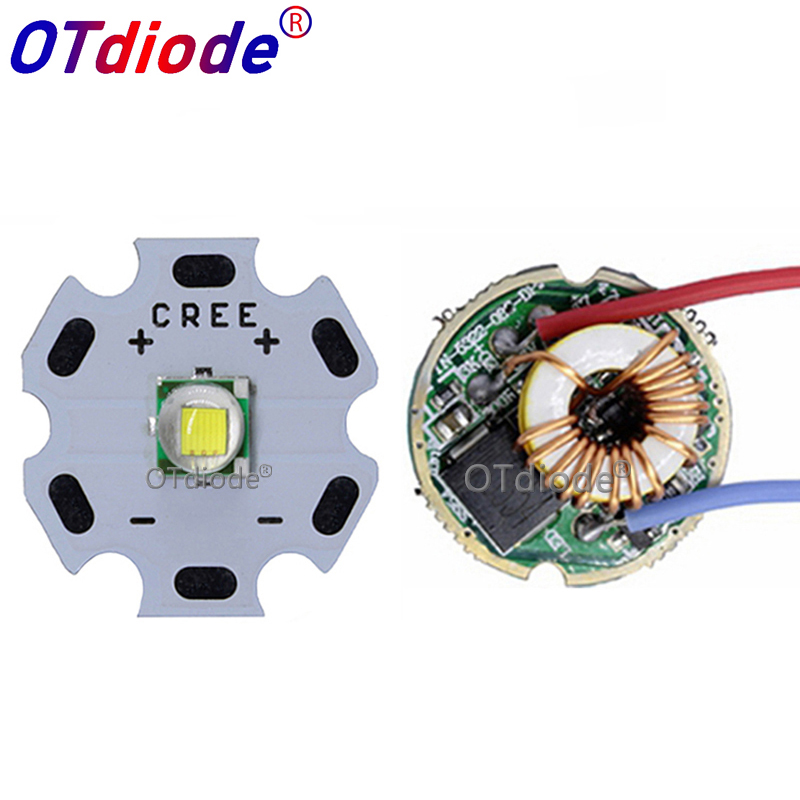 Cree XML XM-L T6 10W High Power LED Emitter Cool White Diode 16/20mm PCB+17mm/22mm DC3.7V 12V Driver
