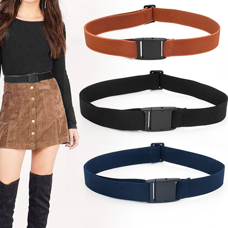 Djustable Stretch Waist Belt No Show Flat Buckle Non-Slip Simple Elastic Belts Band For Women And Men Pants Clothes Waistban