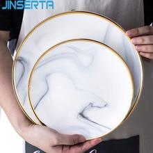 JINSERTA мраморная керамическая тарелка блюдо посуда Западный Стейк Салат суши тарелка десерт фруктовый торт хлеб декоративный поднос