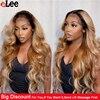 Perruque Lace Front Wig péruvienne naturelle – Ali Lee, cheveux Body Wave, blond miel ombré 1B/27, pre-plucked, Lace Transparent