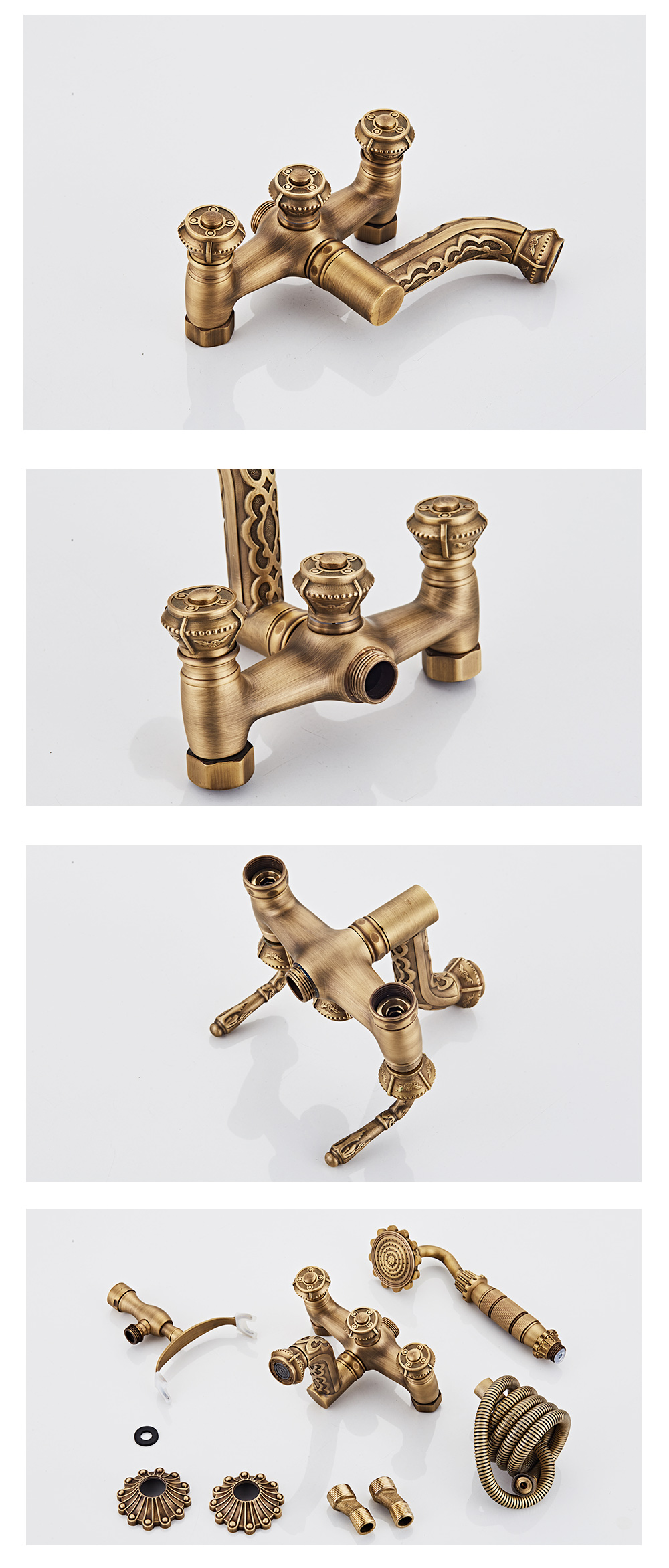 H12e17018ca0b44979846293942d080c1z Antique Bronze Bathroom Shower Faucet High Quantity Bathtub Shower Set Mixer With Hand Shower Taps Wall Mounted WB1603