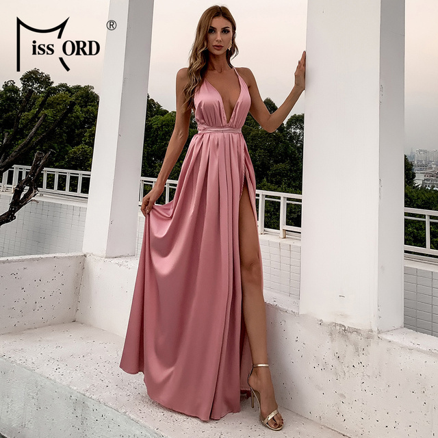 Missord Summer Female V-neck Backless Evening Party Dress High Split Backless Holiday Beach Dresses Sexy Maxi Dress FT2462 2