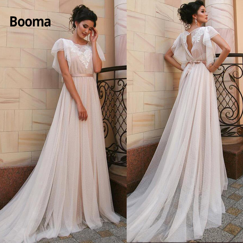 Booma Boho Bohemian Wedding Dress Sexy Open Back Lace Appliques Dot Tulle Bridal Gowns With Belt Princess Party Dress Plus Size